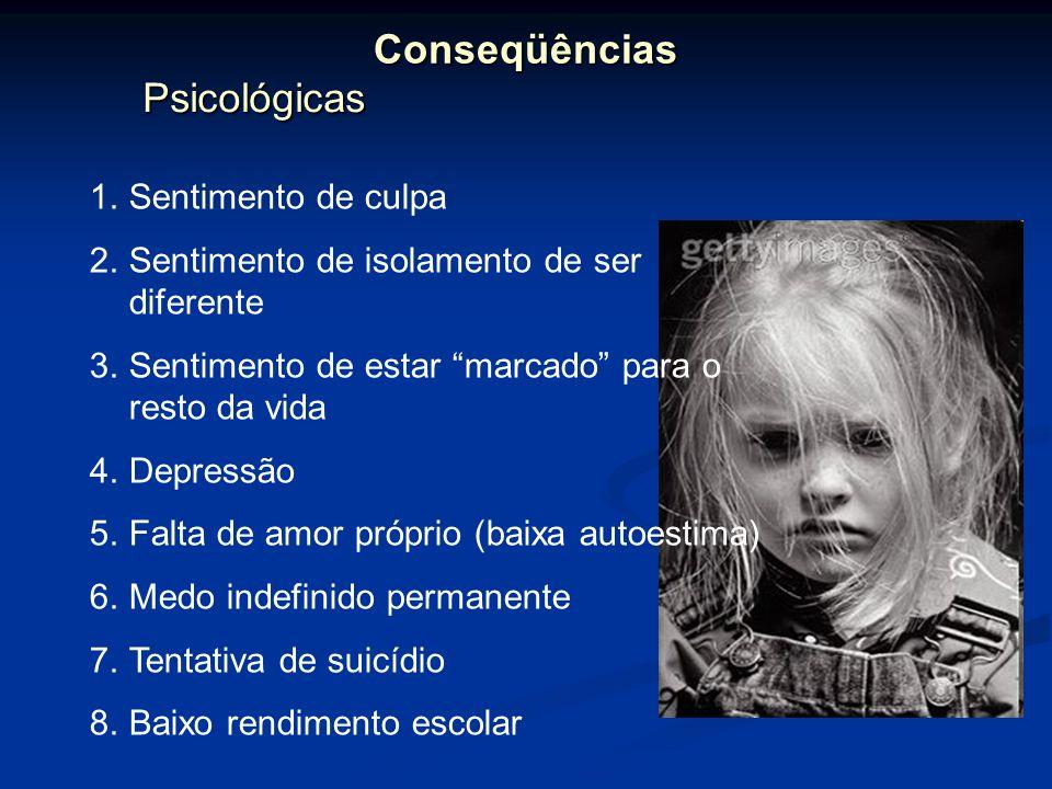 Psicológicas PsicológicasConseqüências 1.Sentimento de culpa 2.Sentimento de isolamento de ser diferente 3.Sentimento de estar marcado para o resto da