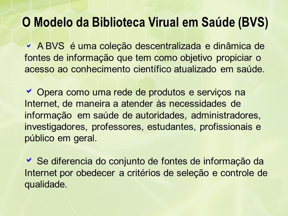 A BVS é uma coleção descentralizada e dinâmica de fontes de informação que tem como objetivo propiciar o acesso ao conhecimento científico atualizado