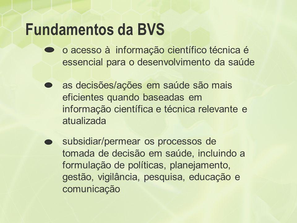 Fundamentos da BVS o acesso à informação científico técnica é essencial para o desenvolvimento da saúde as decisões/ações em saúde são mais eficientes