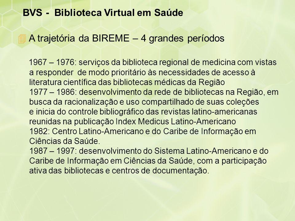 BVS - Biblioteca Virtual em Saúde 4 A trajetória da BIREME – 4 grandes períodos 1967 – 1976: serviços da biblioteca regional de medicina com vistas a