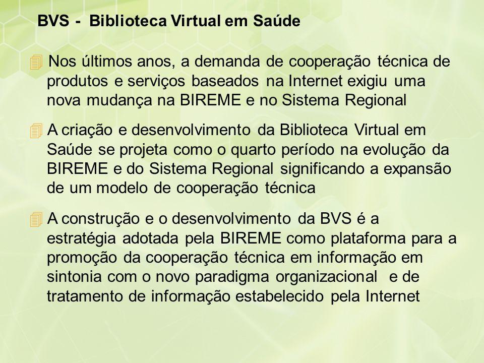 BVS - Biblioteca Virtual em Saúde 4 A criação e desenvolvimento da Biblioteca Virtual em Saúde se projeta como o quarto período na evolução da BIREME
