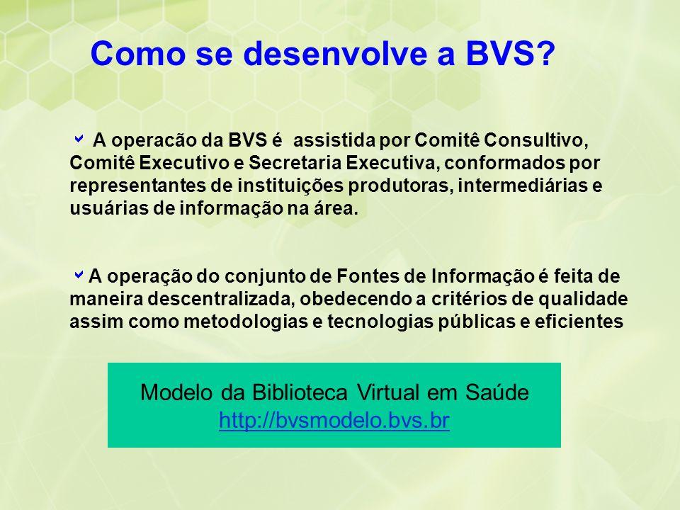 A operacão da BVS é assistida por Comitê Consultivo, Comitê Executivo e Secretaria Executiva, conformados por representantes de instituições produtora