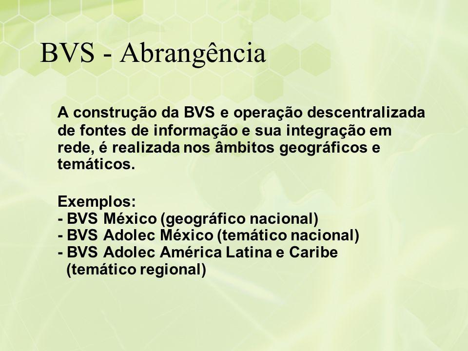BVS - Abrangência A construção da BVS e operação descentralizada de fontes de informação e sua integração em rede, é realizada nos âmbitos geográficos