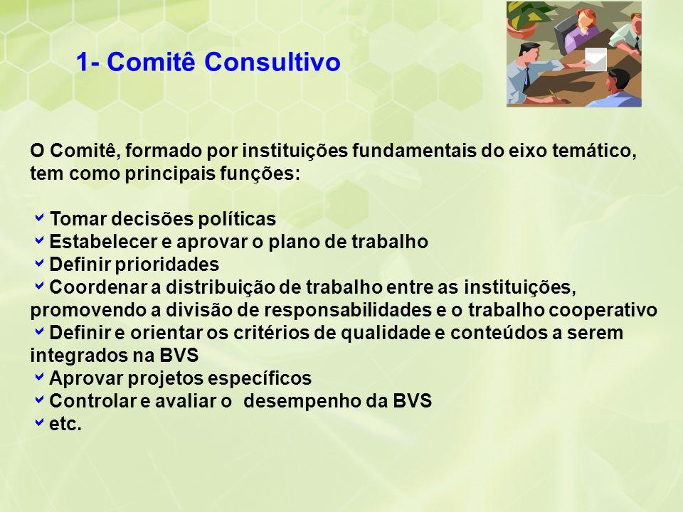 1- Comitê Consultivo O Comitê, formado por instituições fundamentais do eixo temático, tem como principais funções: Tomar decisões políticas Estabelec