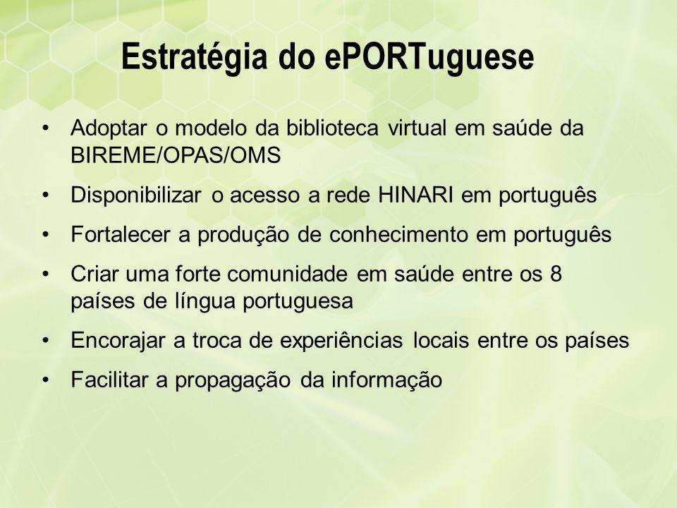 Estratégia do ePORTuguese Adoptar o modelo da biblioteca virtual em saúde da BIREME/OPAS/OMS Disponibilizar o acesso a rede HINARI em português Fortal