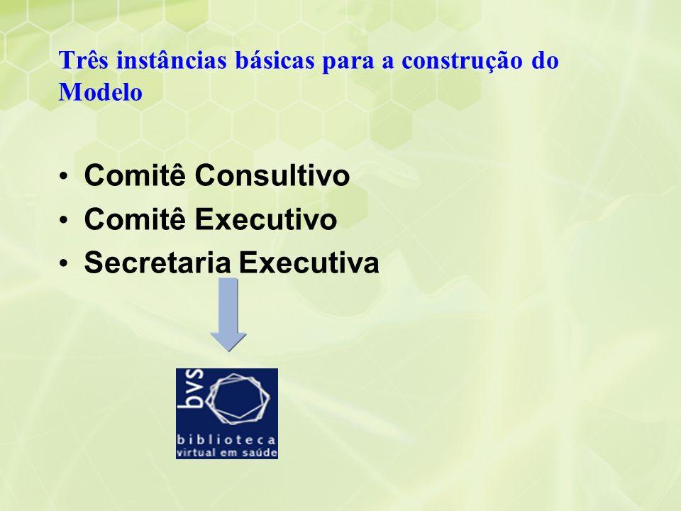 Três instâncias básicas para a construção do Modelo Comitê Consultivo Comitê Executivo Secretaria Executiva