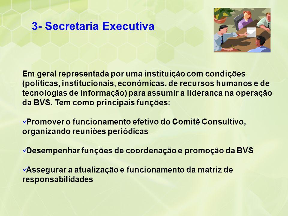 3- Secretaria Executiva Em geral representada por uma instituição com condições (políticas, institucionais, econômicas, de recursos humanos e de tecno