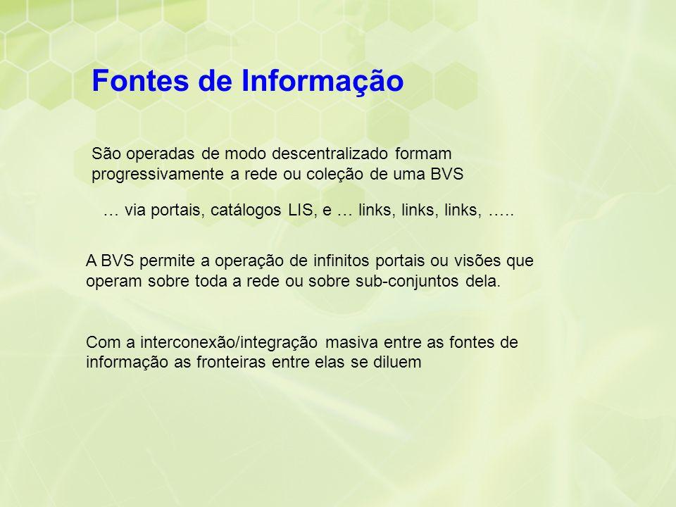 São operadas de modo descentralizado formam progressivamente a rede ou coleção de uma BVS … via portais, catálogos LIS, e … links, links, links, ….. A