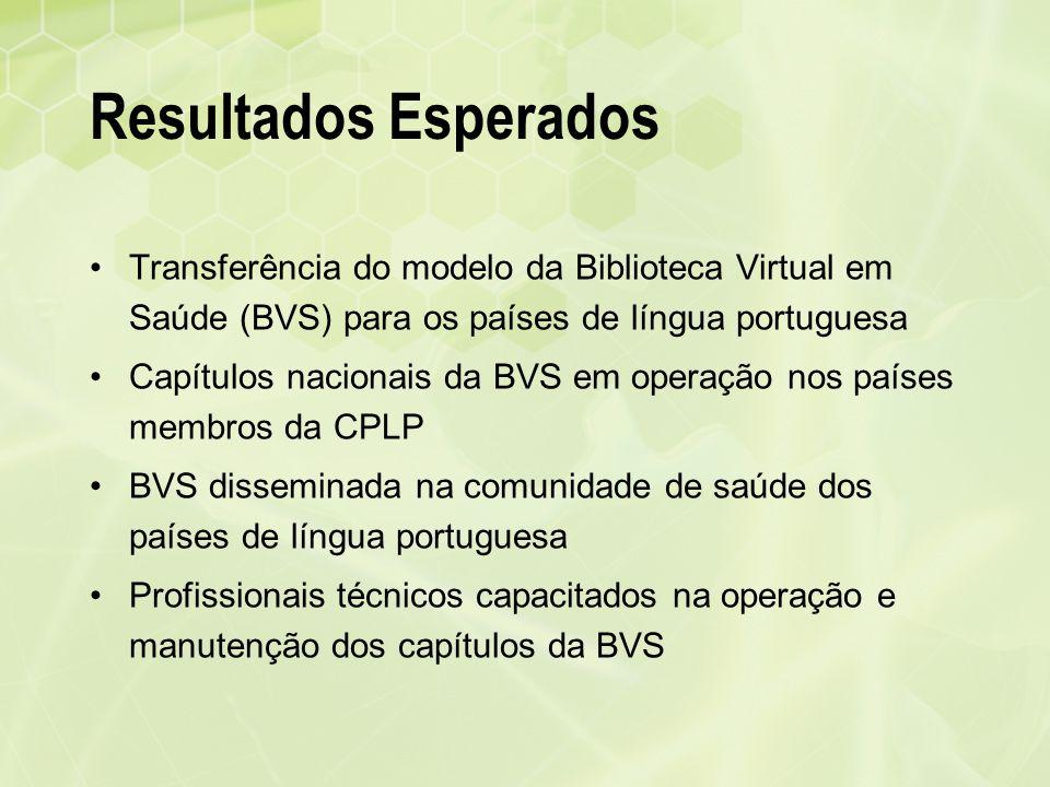 Resultados Esperados Transferência do modelo da Biblioteca Virtual em Saúde (BVS) para os países de língua portuguesa Capítulos nacionais da BVS em op