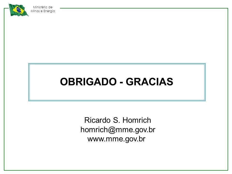 Ministério de Minas e Energia OBRIGADO - GRACIAS Ricardo S. Homrich homrich@mme.gov.br www.mme.gov.br