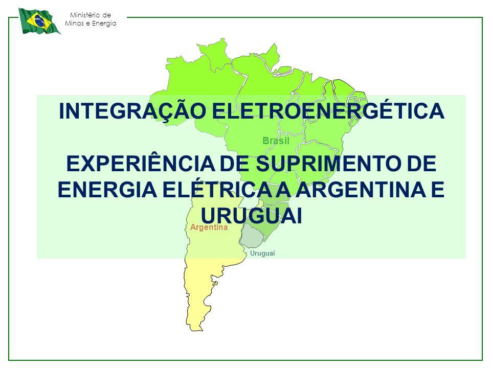 Ministério de Minas e Energia MEMORANDOS DE ENTENDIMENTO PARA SUPRIMENTO DE ENERGIA ELÉTRICA INTERRUPTIVEL MODALIDADES DE SUPRIMENTO DA ENERGIA ELÉTRICA INTERRUPTIVEL : 1 – Sem necessidade de devolução da energia – solicitação da Argentina e Uruguai desde 2004 Origem da energia elétrica : fontes térmicas de geração, não utilizadas pelo Brasil ou fontes hidráulicas de geração, havendo energia vertida turbinável.
