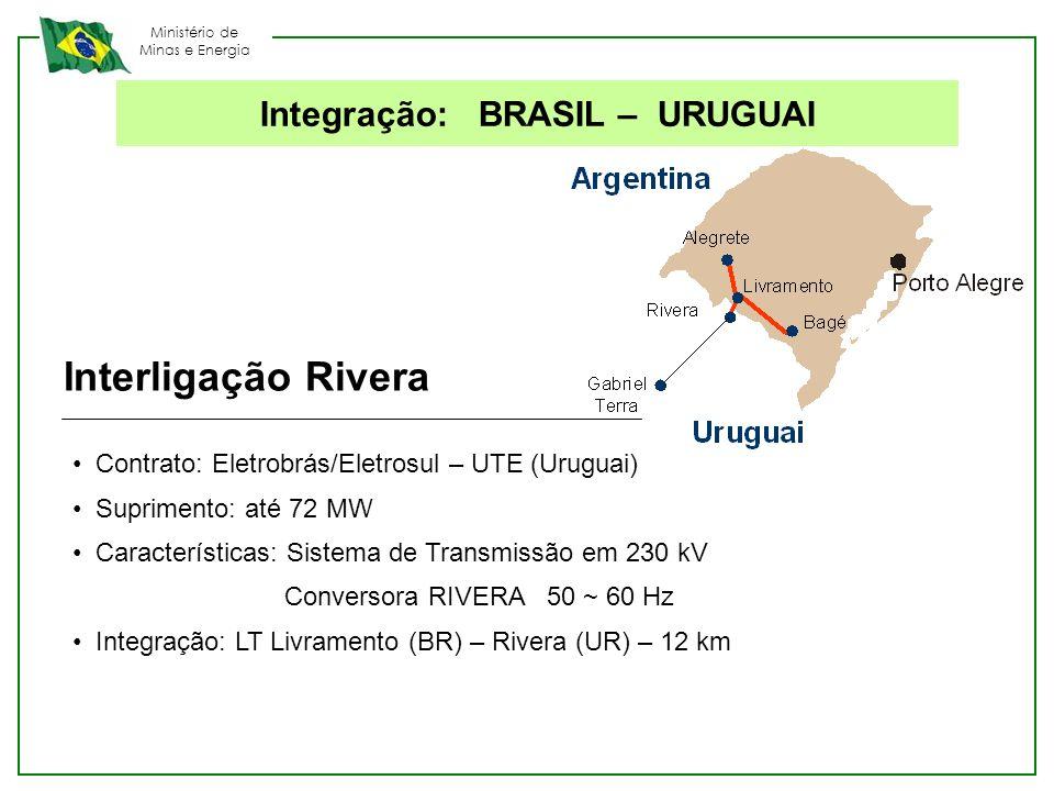 Ministério de Minas e Energia Interligação Rivera Contrato: Eletrobrás/Eletrosul – UTE (Uruguai) Suprimento: até 72 MW Características: Sistema de Tra
