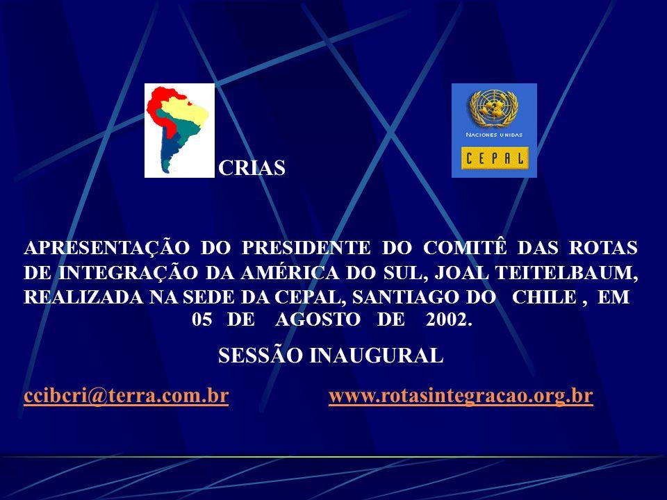 Fonte: CORPORAÇÃO ANDINA DE FOMENTO COMITÊ DAS ROTAS DE INTEGRAÇÃO DA AMERICA DO SUL REUNIÃO NA CEPAL 05 DE AGOSTO DE 2002