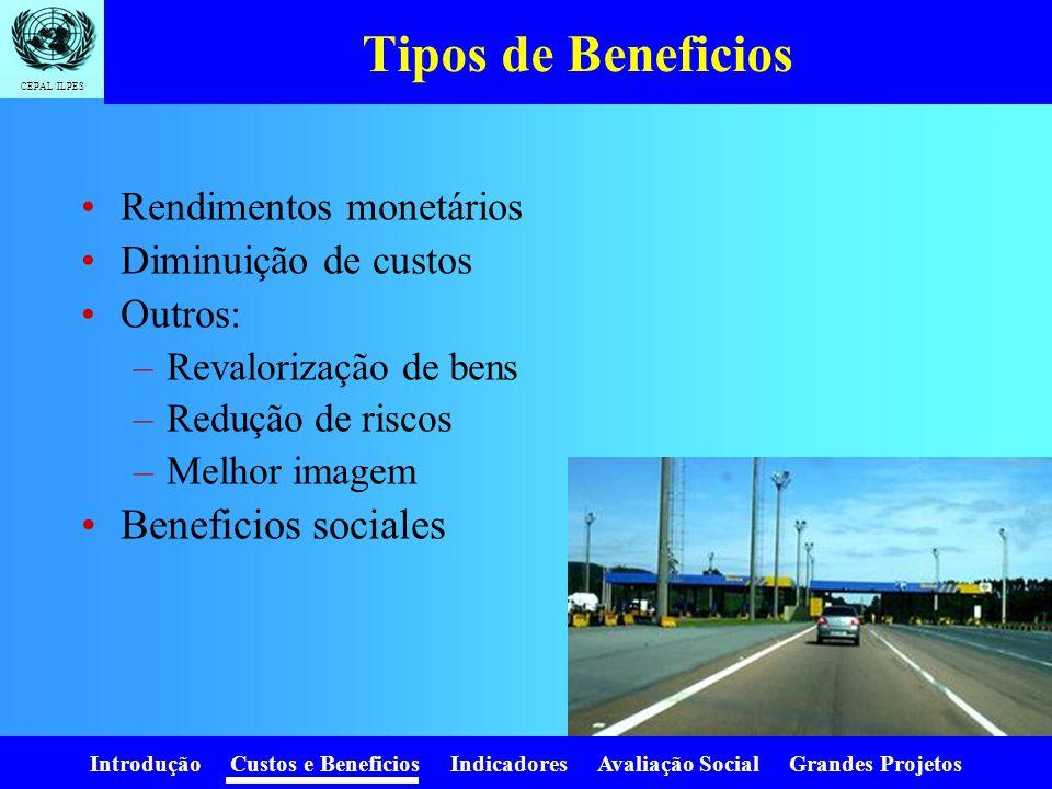 Introdução Custos e Beneficios Indicadores Avaliação Social Grandes Projetos CEPAL/ILPES Estimaçao dos custos Custo do proyetos similares Custos unita
