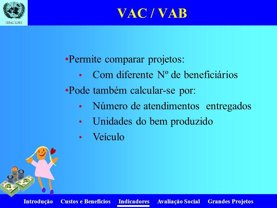 Introdução Custos e Beneficios Indicadores Avaliação Social Grandes Projetos CEPAL/ILPES Valor Atual dos Custos AnoCustos (1+r) i V.A. 025001 11501.11