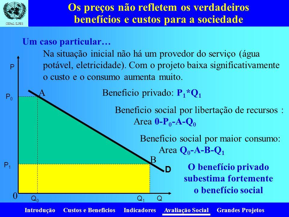 Introdução Custos e Beneficios Indicadores Avaliação Social Grandes Projetos CEPAL/ILPES Os preços mentem! Impostos Subsídios Cotas Monopólios Monopso
