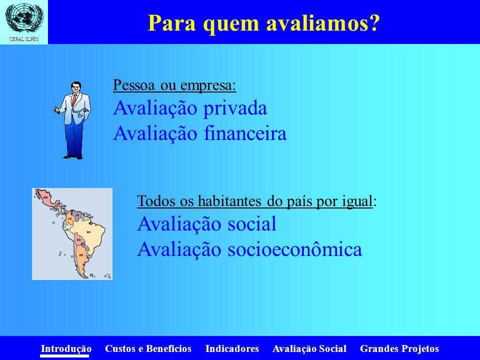Introdução Custos e Beneficios Indicadores Avaliação Social Grandes Projetos CEPAL/ILPES Por que avaliar? Queremos obter mais do que gastamos. - + Dev
