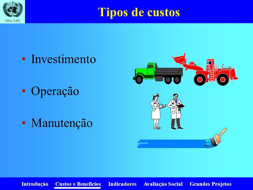 Introdução Custos e Beneficios Indicadores Avaliação Social Grandes Projetos CEPAL/ILPES Tipos de avaliação AvaliaçãoAcciónCustosBeneficios Identifica
