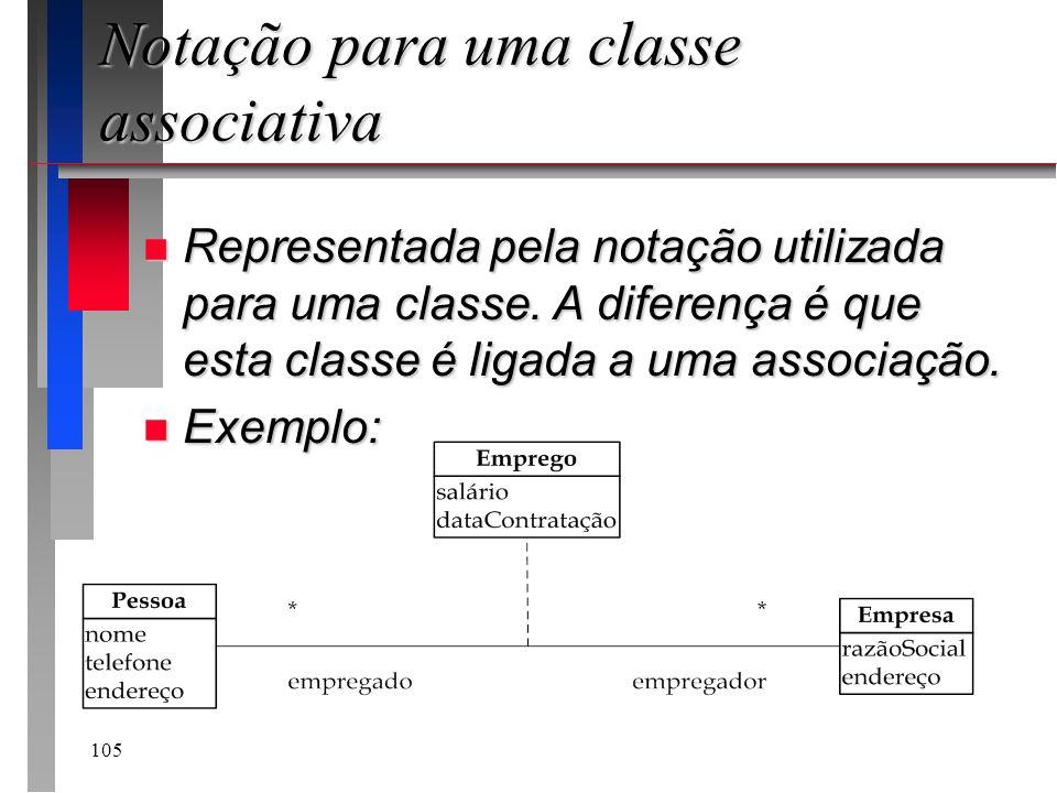 105 Notação para uma classe associativa n Representada pela notação utilizada para uma classe. A diferença é que esta classe é ligada a uma associação