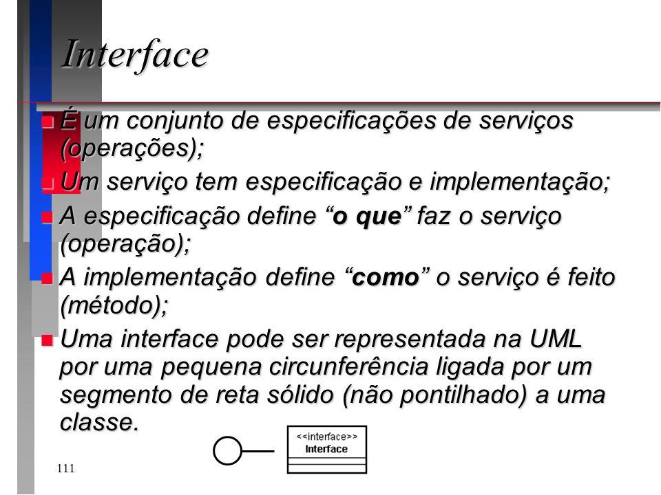 111 Interface n É um conjunto de especificações de serviços (operações); n Um serviço tem especificação e implementação; n A especificação define o qu