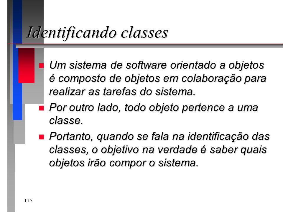 115 Identificando classes n Um sistema de software orientado a objetos é composto de objetos em colaboração para realizar as tarefas do sistema. n Por