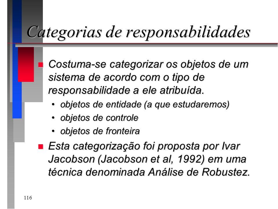 116 Categorias de responsabilidades n Costuma-se categorizar os objetos de um sistema de acordo com o tipo de responsabilidade a ele atribuída. objeto