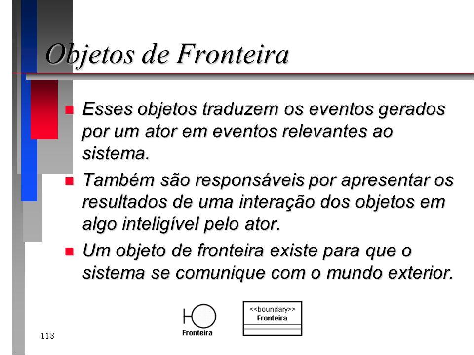 118 Objetos de Fronteira n Esses objetos traduzem os eventos gerados por um ator em eventos relevantes ao sistema. n Também são responsáveis por apres