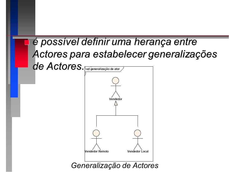 n é possível definir uma herança entre Actores para estabelecer generalizações de Actores. Generalização de Actores