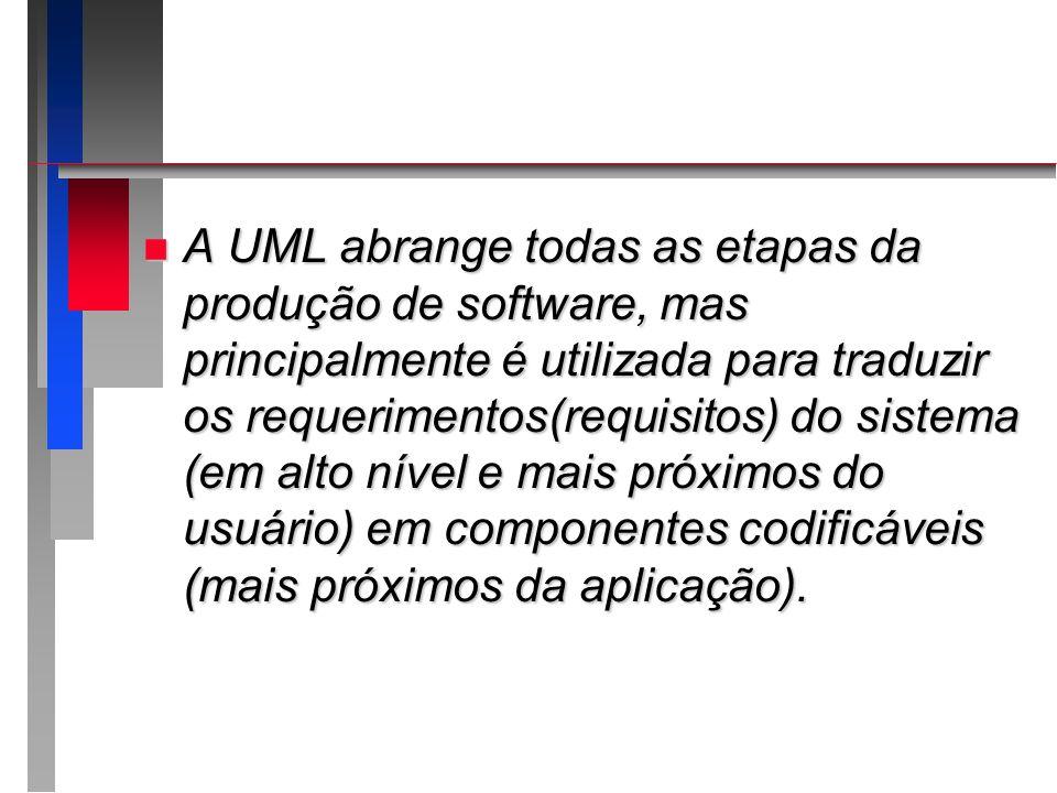 n A UML abrange todas as etapas da produção de software, mas principalmente é utilizada para traduzir os requerimentos(requisitos) do sistema (em alto