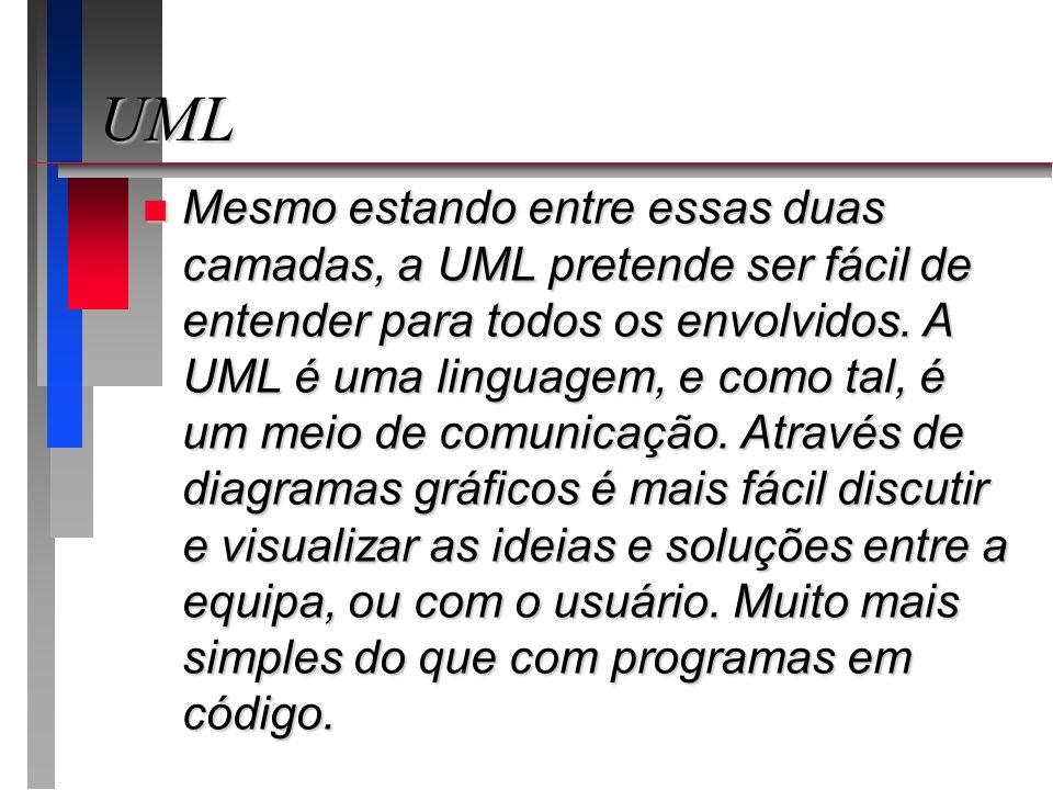 UML n Mesmo estando entre essas duas camadas, a UML pretende ser fácil de entender para todos os envolvidos. A UML é uma linguagem, e como tal, é um m