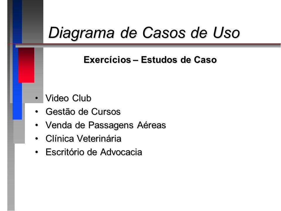 Diagrama de Casos de Uso Diagrama de Casos de Uso Exercícios – Estudos de Caso Video ClubVideo Club Gestão de CursosGestão de Cursos Venda de Passagen