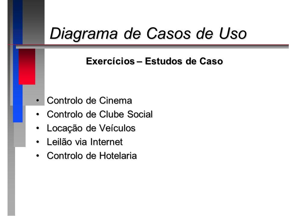 Diagrama de Casos de Uso Diagrama de Casos de Uso Exercícios – Estudos de Caso Controlo de CinemaControlo de Cinema Controlo de Clube SocialControlo d