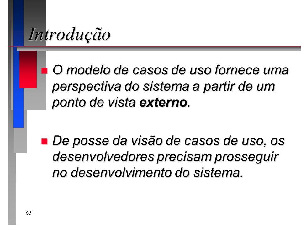 65 Introdução n O modelo de casos de uso fornece uma perspectiva do sistema a partir de um ponto de vista externo. n De posse da visão de casos de uso