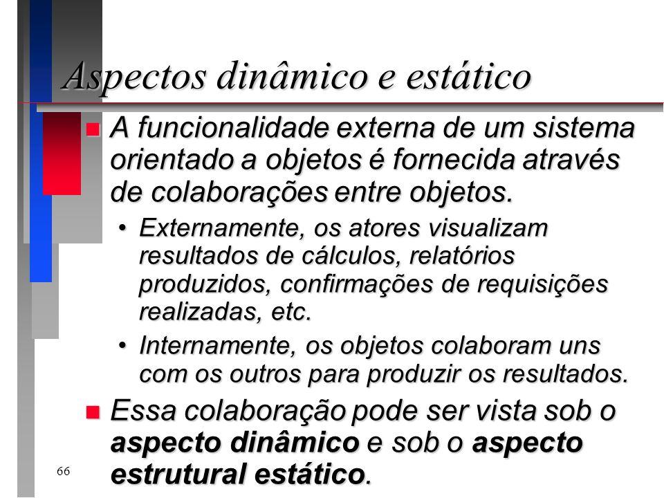 66 n A funcionalidade externa de um sistema orientado a objetos é fornecida através de colaborações entre objetos. Externamente, os atores visualizam