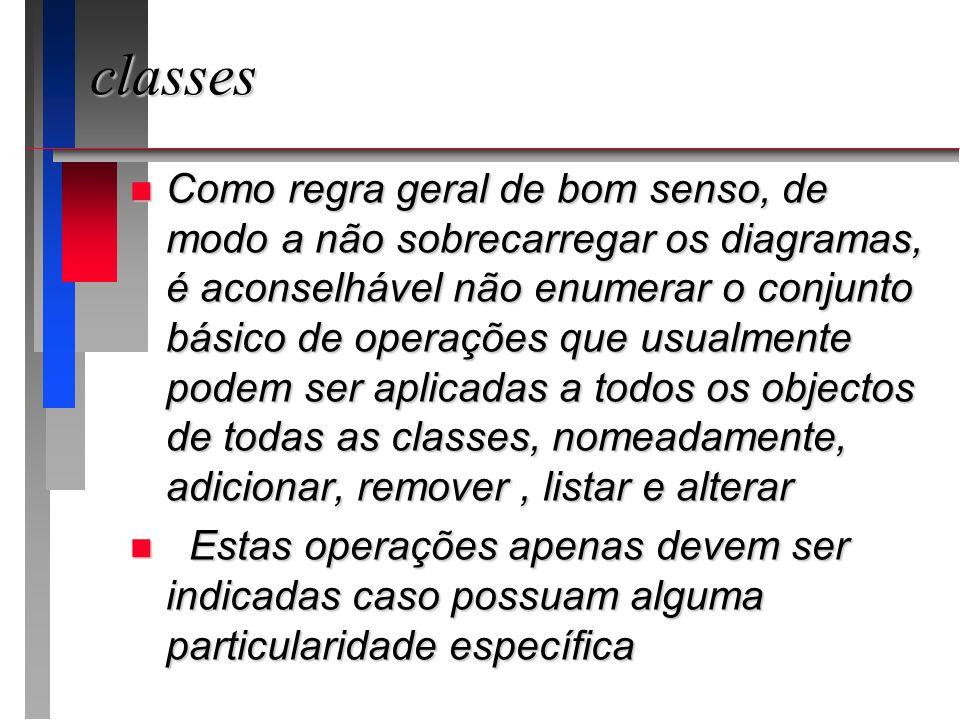 classes n Como regra geral de bom senso, de modo a não sobrecarregar os diagramas, é aconselhável não enumerar o conjunto básico de operações que usua