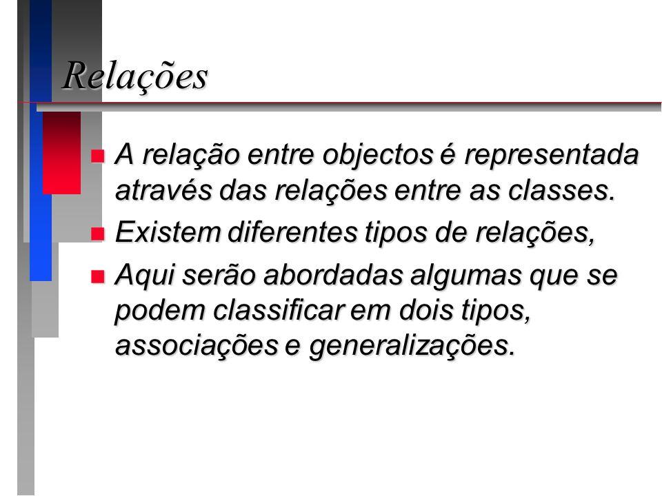 Relações n A relação entre objectos é representada através das relações entre as classes. n Existem diferentes tipos de relações, n Aqui serão abordad