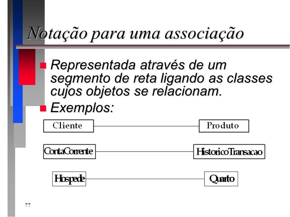 77 Notação para uma associação n Representada através de um segmento de reta ligando as classes cujos objetos se relacionam. n Exemplos: