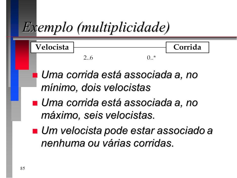 85 Exemplo (multiplicidade) n Uma corrida está associada a, no mínimo, dois velocistas n Uma corrida está associada a, no máximo, seis velocistas. n U