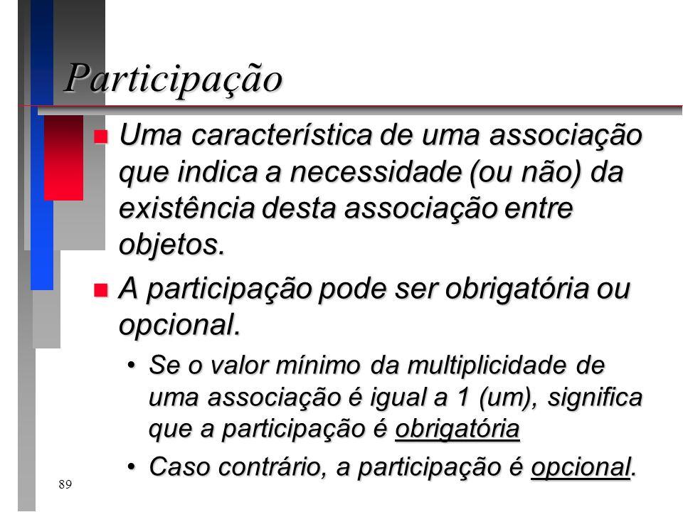 89 Participação n Uma característica de uma associação que indica a necessidade (ou não) da existência desta associação entre objetos. n A participaçã