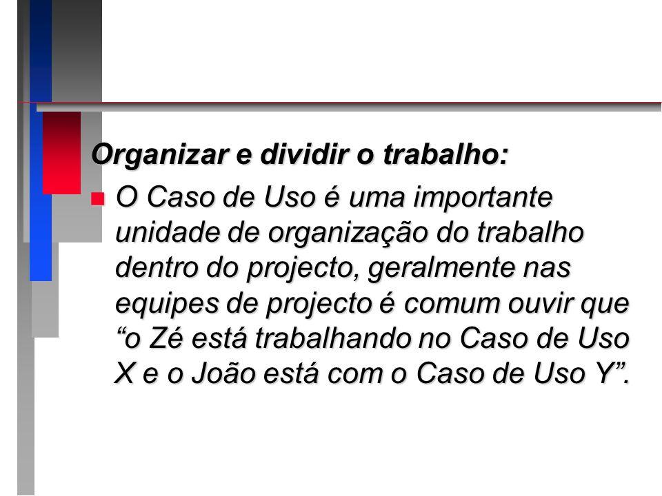 Organizar e dividir o trabalho: n O Caso de Uso é uma importante unidade de organização do trabalho dentro do projecto, geralmente nas equipes de proj
