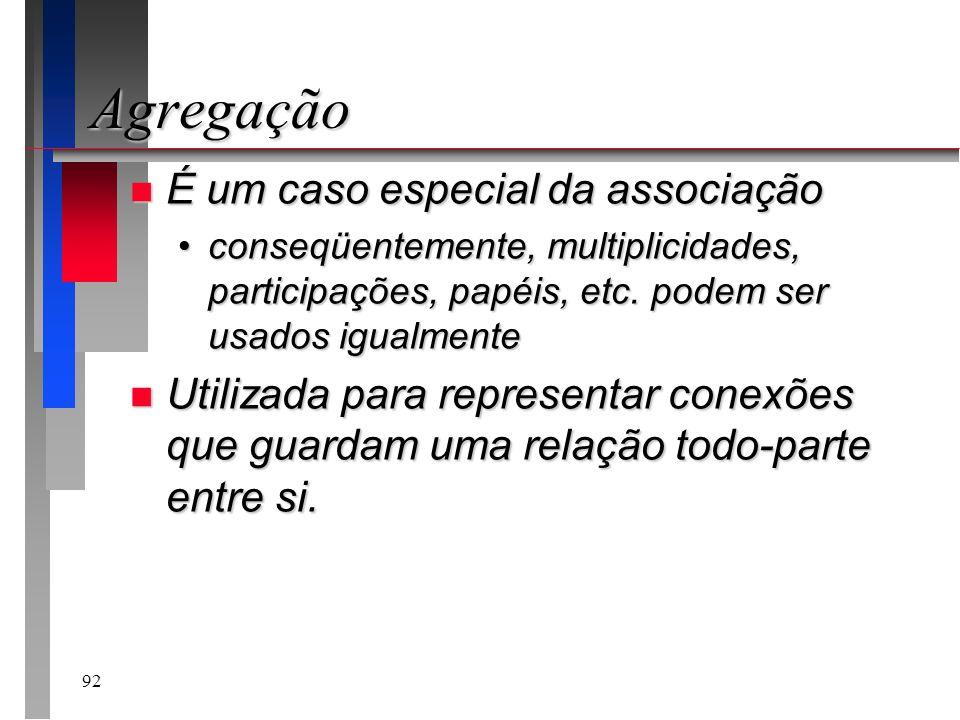 92 Agregação n É um caso especial da associação conseqüentemente, multiplicidades, participações, papéis, etc. podem ser usados igualmenteconseqüentem