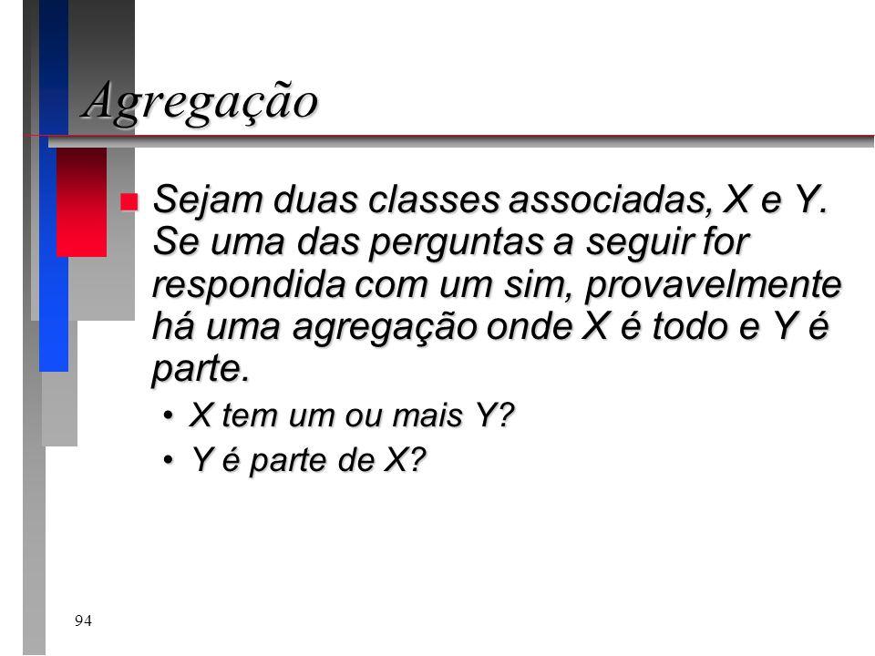 94 Agregação n Sejam duas classes associadas, X e Y. Se uma das perguntas a seguir for respondida com um sim, provavelmente há uma agregação onde X é
