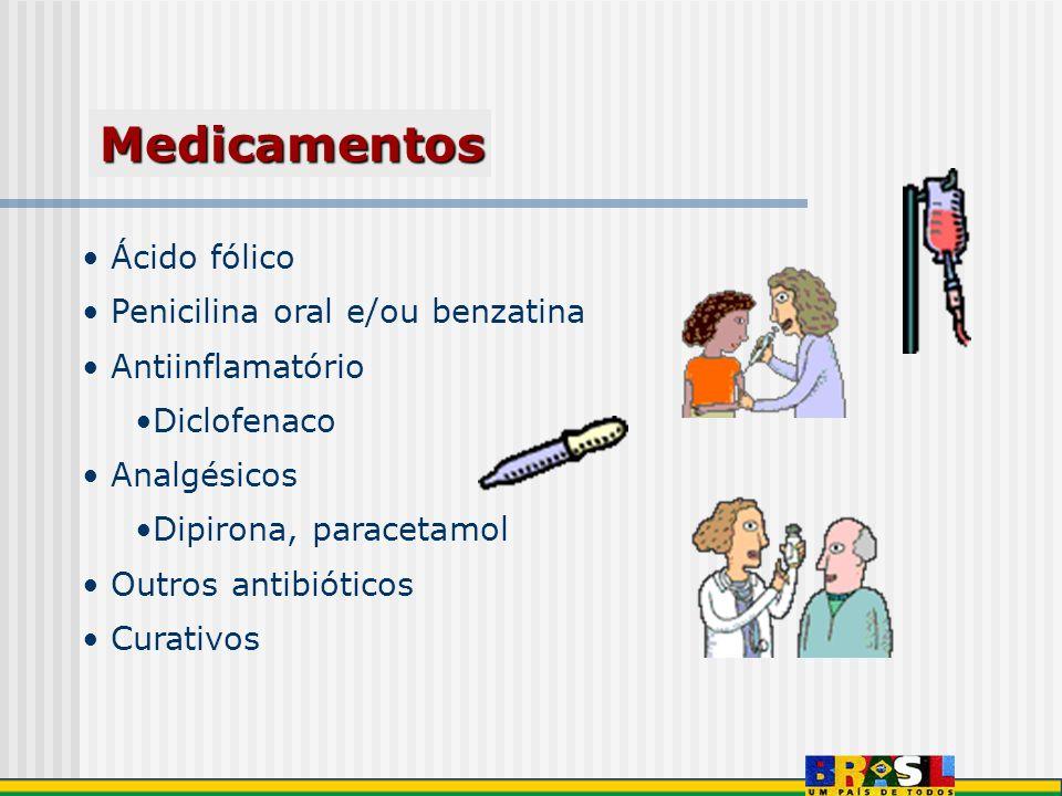 Ácido fólico Penicilina oral e/ou benzatina Antiinflamatório Diclofenaco Analgésicos Dipirona, paracetamol Outros antibióticos Curativos Medicamentos