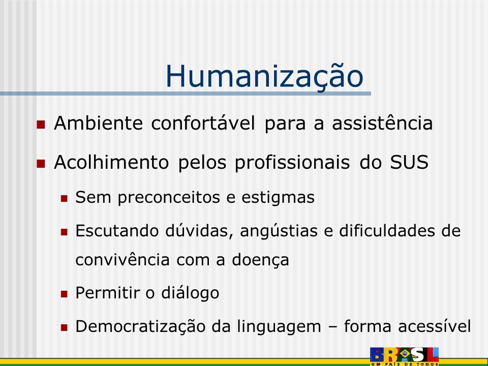 Humanização Ambiente confortável para a assistência Acolhimento pelos profissionais do SUS Sem preconceitos e estigmas Escutando dúvidas, angústias e