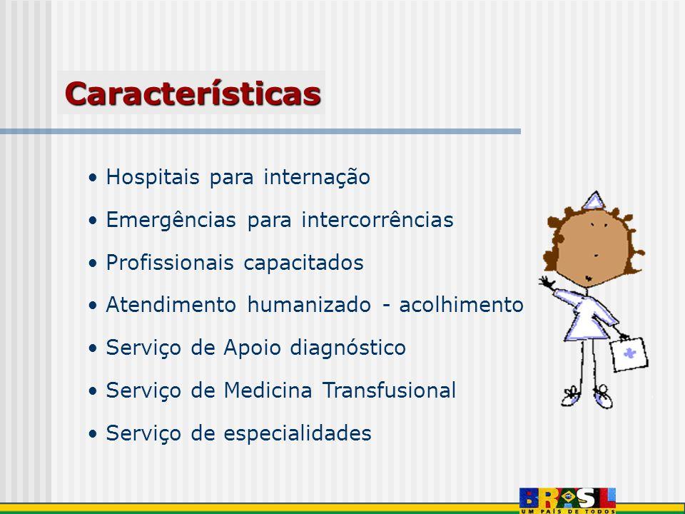 Hospitais para internação Emergências para intercorrências Profissionais capacitados Atendimento humanizado - acolhimento Serviço de Apoio diagnóstico