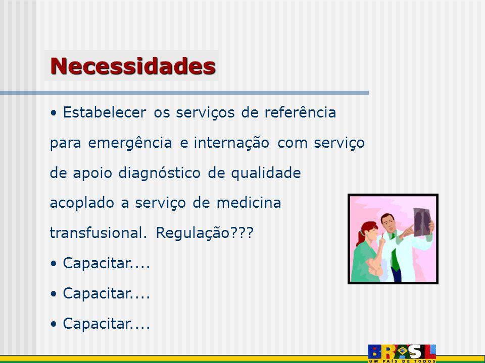 Estabelecer os serviços de referência para emergência e internação com serviço de apoio diagnóstico de qualidade acoplado a serviço de medicina transf