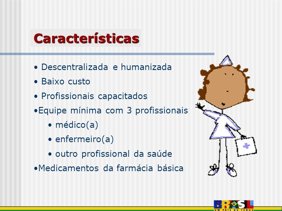 Descentralizada e humanizada Baixo custo Profissionais capacitados Equipe mínima com 3 profissionais médico(a) enfermeiro(a) outro profissional da saú