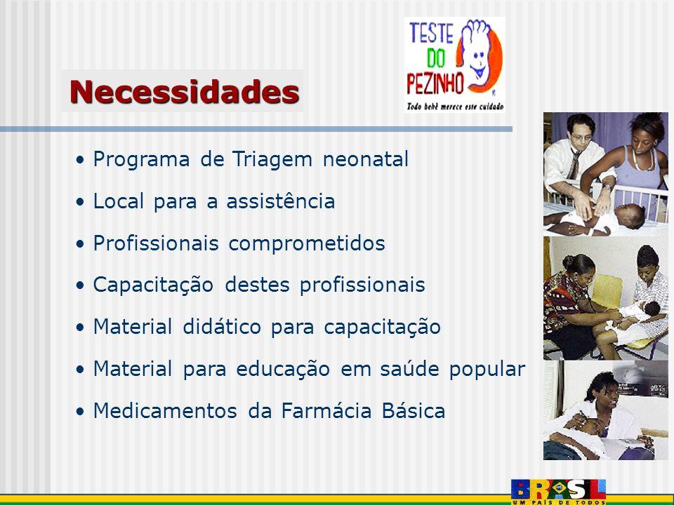 Programa de Triagem neonatal Local para a assistência Profissionais comprometidos Capacitação destes profissionais Material didático para capacitação