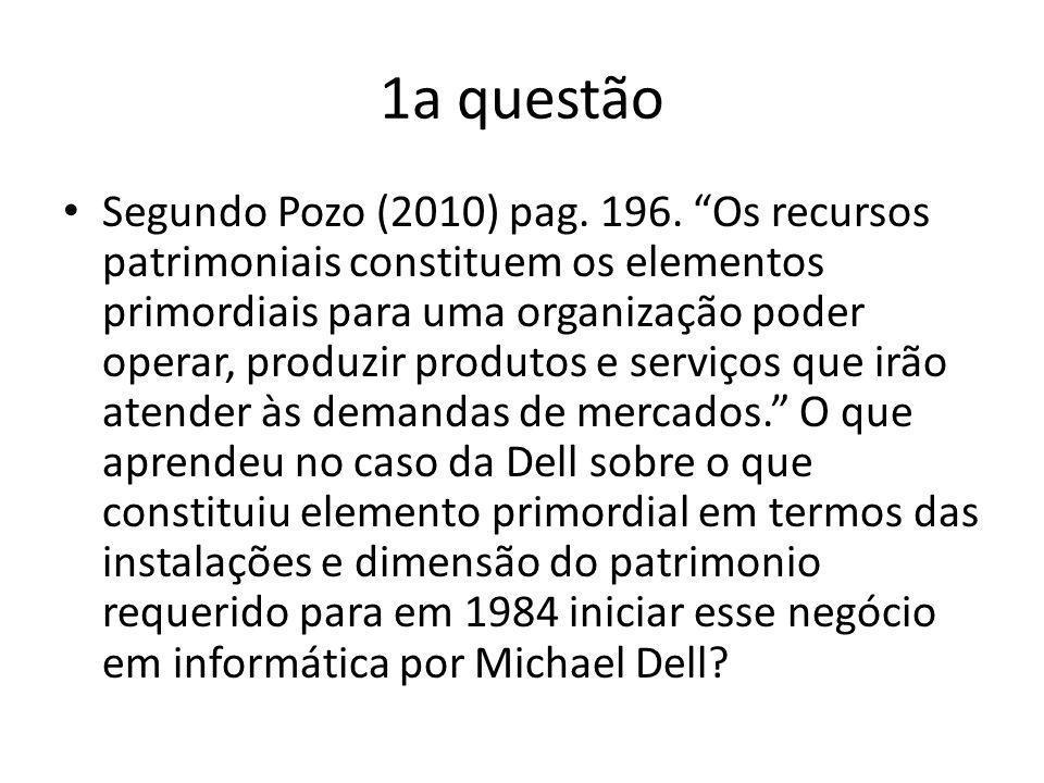 1a questão Segundo Pozo (2010) pag. 196. Os recursos patrimoniais constituem os elementos primordiais para uma organização poder operar, produzir prod