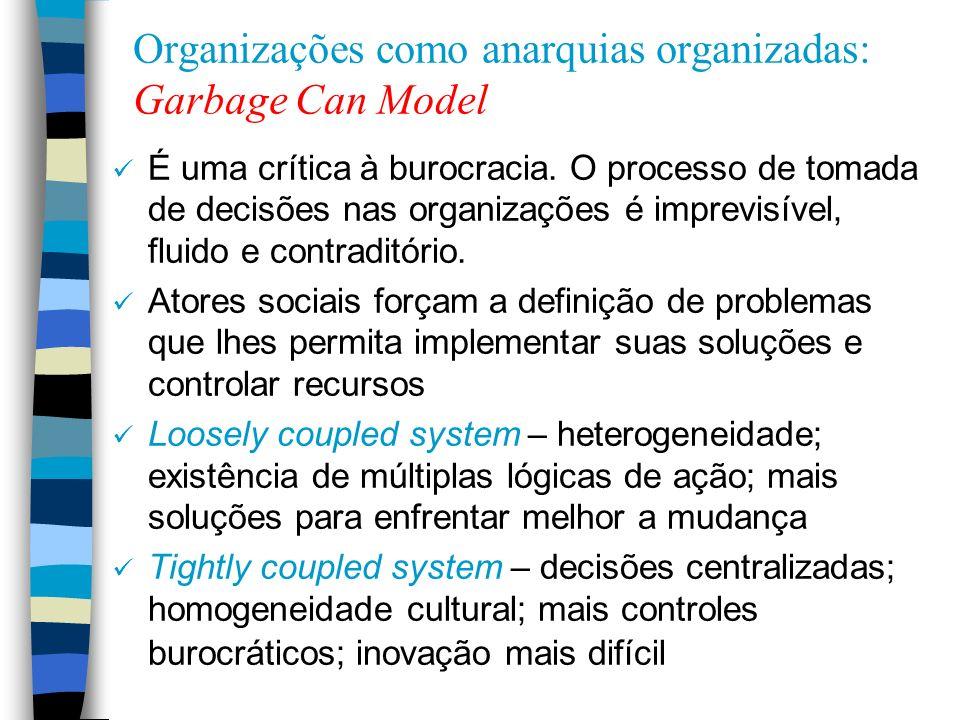 Organizações como anarquias organizadas: Garbage Can Model É uma crítica à burocracia. O processo de tomada de decisões nas organizações é imprevisíve